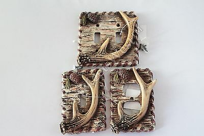 Rustic Deer Antler Switch Plate Covers Electric Outlet Birch Wood Pine Cone