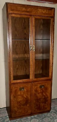 OAK BURLED CAMPAIGN STYLE CURIO CABINET Lighted Display Glass Shelves 1of2