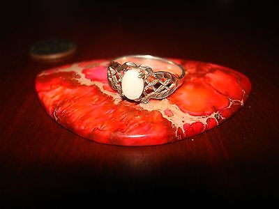 Beautiful Vintage Sterling Silver & Opal Filigree Ring.925 Sz-8