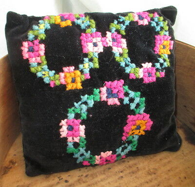Antique PIN CUSHION ~ cross stitched YARN FLOWERS on BLACK VELVET ~ c1920s era ~