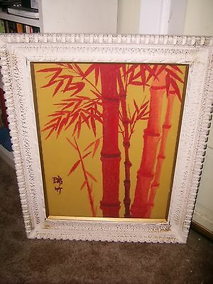 Asian Red Bamboo Tree with Golden Background Fabric Art, 1975
