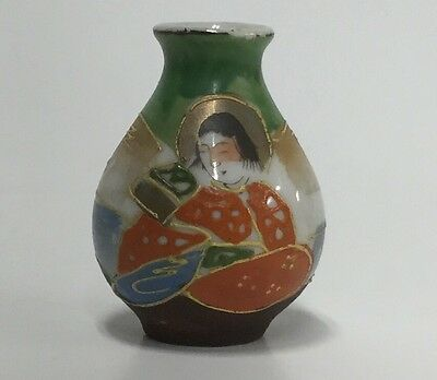 Miniature Porcelain Raised Moriage Vase Geisha Occupied Japan 2""