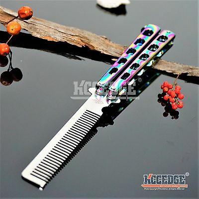 High Quality Practice BALISONG METAL BUTTERFLY Comb Steel Trainer Knife RAINBOW