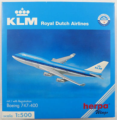New Herpa Wings 500692 Royal Dutch Airlines Boeing 747-400 Klm 1:500 Scale Rare