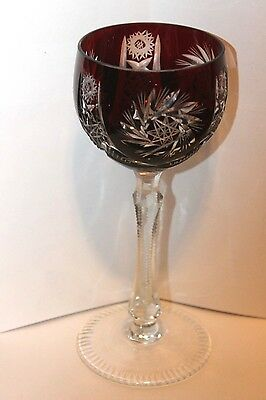 "Vintage Cut Ruby to Clear Crystal Wine Goblets Designed 7 1/2"" high 3"" Diameter"