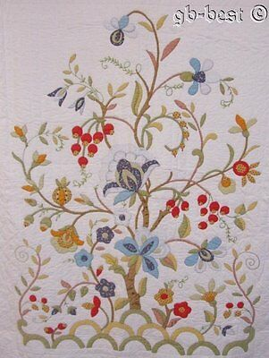 """Beautiful Tree of Life APPLIQUE Quilt Vintage Feathers Scallops 85"""" x 75"""""""