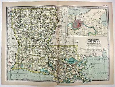 Original 1897 Map of Louisiana by The Century Company