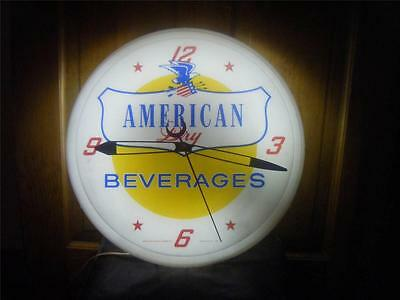 ORIGINAL LIGHTED AMERICAN DRY BEVERAGES ELECTRIC CLOCK 1950s-1960s