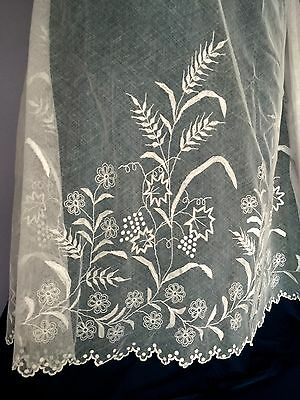 Vintage embroidered net deep alb  flounce or skirt Wheat and Grapes motif