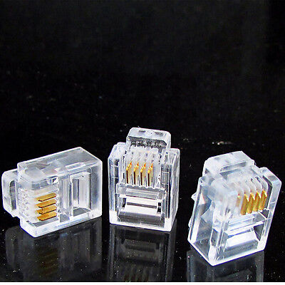 100 pcs RJ11 Modular Plugs 6P4C For Solid Connectors  OZ