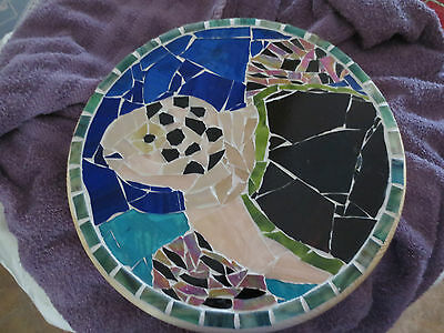 SEA TURTLE wall hanging, easel percher stained glass mosaic turtle