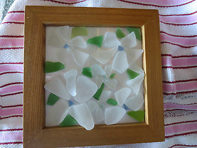 BEACH BLOSSOMS sea glass art in square frame elegantly simple and unique
