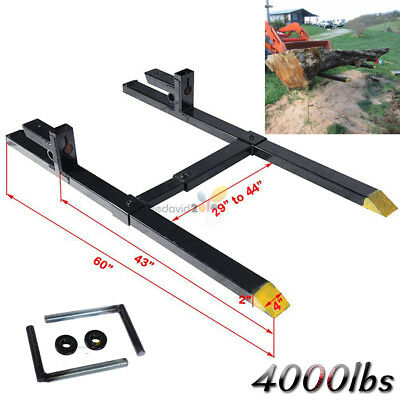 Clamp on Pallet Forks w/ Adjustable Stabilizer Bar LW for loaders Bucket 4000lbs