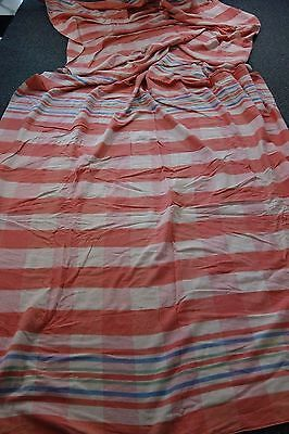 """1940's Camp Blanket- Double Length-70""""x140""""-Rose Pink/Cream w/Blue/Green Stripes"""