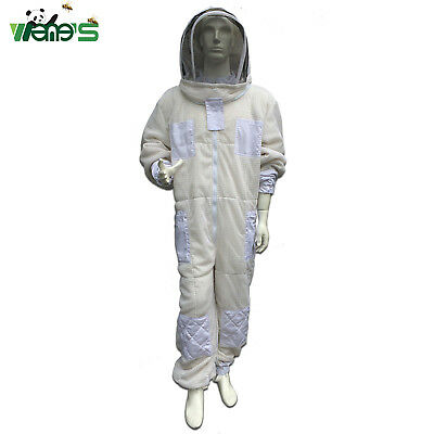 Three Layer AirThrough Vented Mesh Beekeeping Suit With Hooded Veil Bee Clothing