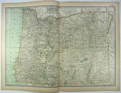 Original 1897 Map of Oregon by The Century Company