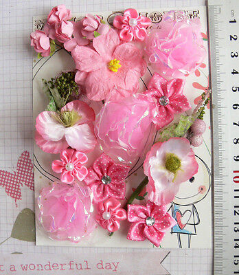 PINK - 16 Flowers - 6 Styles = PAPER, SILK  & SATIN Flowers 15-40mm HH