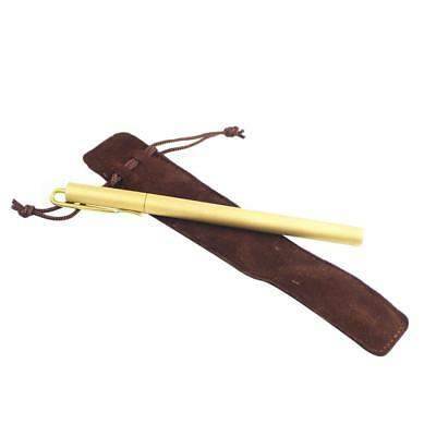 Frosted Gold Brass Pen Office Pen with Pocket Clip EDC Outdoor Survival Tool