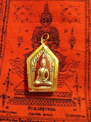 Phra Khun Pan Magic Powerful Thailand Amulet Buddha Red In Goldplated Case