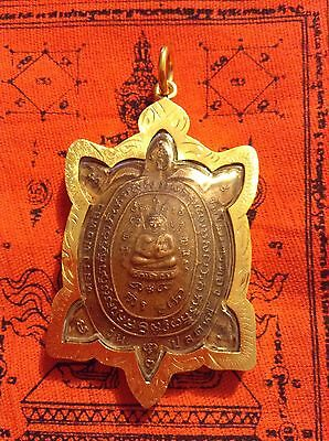 LP LIEW Playa Tao Turtle Powerful Buddha Magic Thailand Amulet In Goldplated Cas