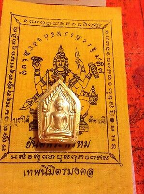 Phra Khun Pan Magic Powerful Thailand Amulet Buddha In Goldplated Case #128