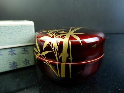 F2869: Japanese Wooden Bamboo gold lacquer pattern TEA CADDY Natsume Jujube