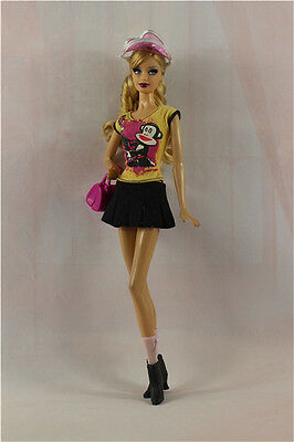 6in1 Fashion clothes/outfit Casual Top+skirt+socks+boots+bag+hat For Barbie Doll