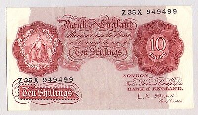 1955 1960 Great Britain 10 Shillings O'brien Banknote Vf Circulated