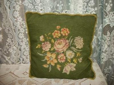 Chic Vintage Needlepoint Roses Pillow Shabby Cottage Green Romantic