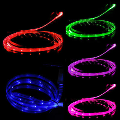 LED Charge Luminescent Visible Current Flow Smart Charger Sync Cable for Samsung