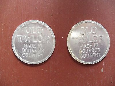 Two OLD TAYLOR - Kentucky Straight Bourbon Whiskey Advertising Doubloon Tokens