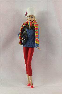 6in1 Fashion clothes/outfit Casual Top+pants+scarf+shoes+bag+hat For Barbie Doll