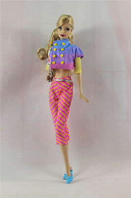 5in1 Fashion clothes/outfit Casual Coat+vest+pants+shoes+bag For Barbie Doll