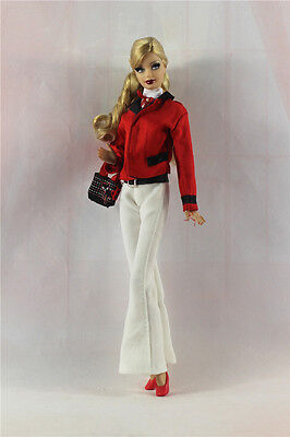 6in1 Fashion clothes/outfit Coat+vest+pants+hat+shoes+bag For Barbie Doll