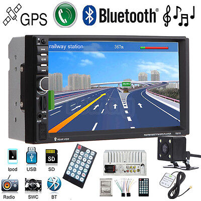 "7"" Double 2 Din Car MP3 Player Radio Stereo GPS SAT NAV AUX USB Bluetooth+Camera"