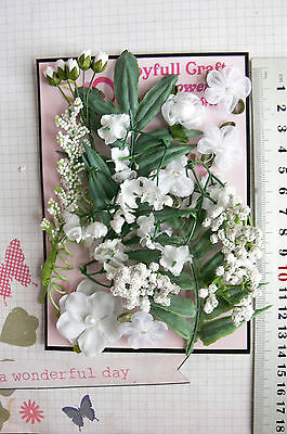WHITE & GREEN FOLIAGE 18 Flowers +i Foliage 7 Style PAPER & FABRIC 5-35mm HH5