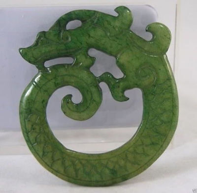 Chinese Old Handwork Green Jade Carved Dragon Pendant Hd J#