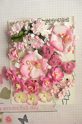 ROSE & Lt PINK Mix - 24 Flowers 7 Styles PAPER & FABRIC Approx 10-55mm C HH