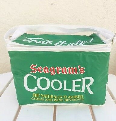 Vintage Seagram's Green Novelty Advertisement Soda Drink Small Beach Cooler Bag