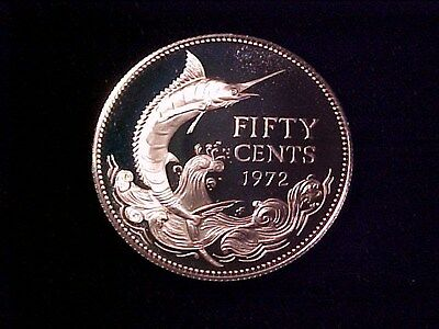 Bahamas 50 Cents Silver Proof 1972 Gem Cameo Blue Marlin Nice