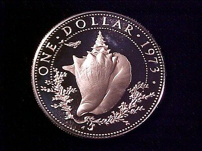 Bahamas Conch $1 Dollar Silver Proof 1973 Gem Cameo Nice