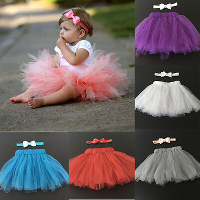 Girls Baby Newborn Toddler Tutu Skirt Headband Bow Set Dress Birthday Photo Prop