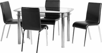 Small Glass Dining Table and 4 Chairs - Clear Glass, Black Glass - Fast Delivery