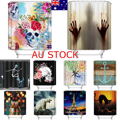 72*72 Shower Curtain Waterproof Polyester Fabric Bathroom 12 Hooks Set Pattern