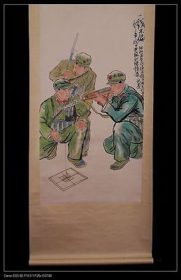 Unique Vintage Long Rare Chinese Paper Figure Scroll Hand Painting Marks PP511