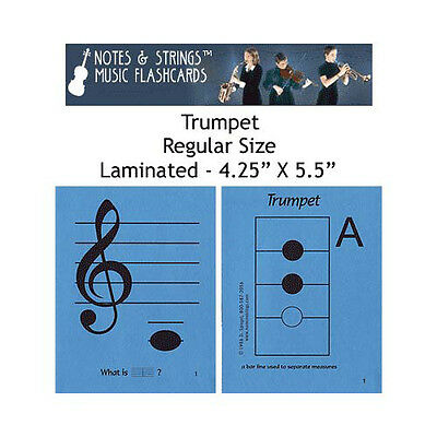 "Notes & Strings Trumpet 4.25"" x 5.5"" Laminated Music Flashcards"