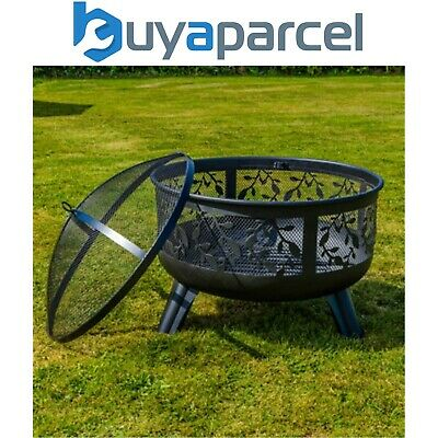 Kingfisher Fire Pit Basket Bowl Floral Mesh Black Steel Garden Outdoor Heater
