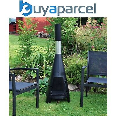Kingfisher Small Tower Chiminea Fire Black Steel Garden Outdoor Heater Grill