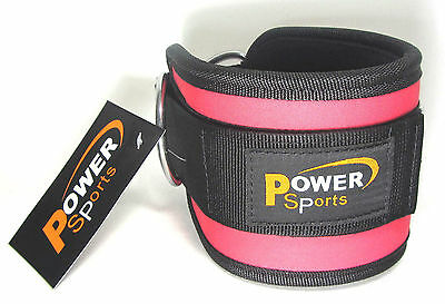 Physio FUCHSIA Gym Ankle Strap D-Ringed for any cable attachment Kickbacks,Glute