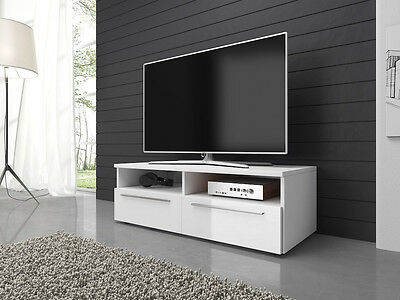 TV Unit Cabinet Stand Vannes 100 cm Body Mat White / Fronts High Gloss White